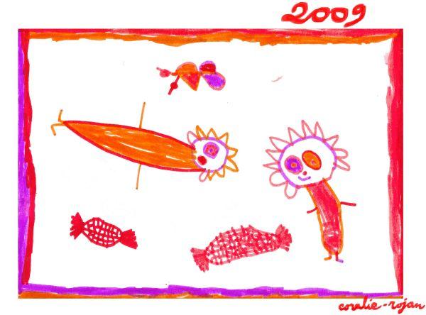 voeux 2009, dessin de Coralie-Rojan, 4 ans, du 25 décembre 2008